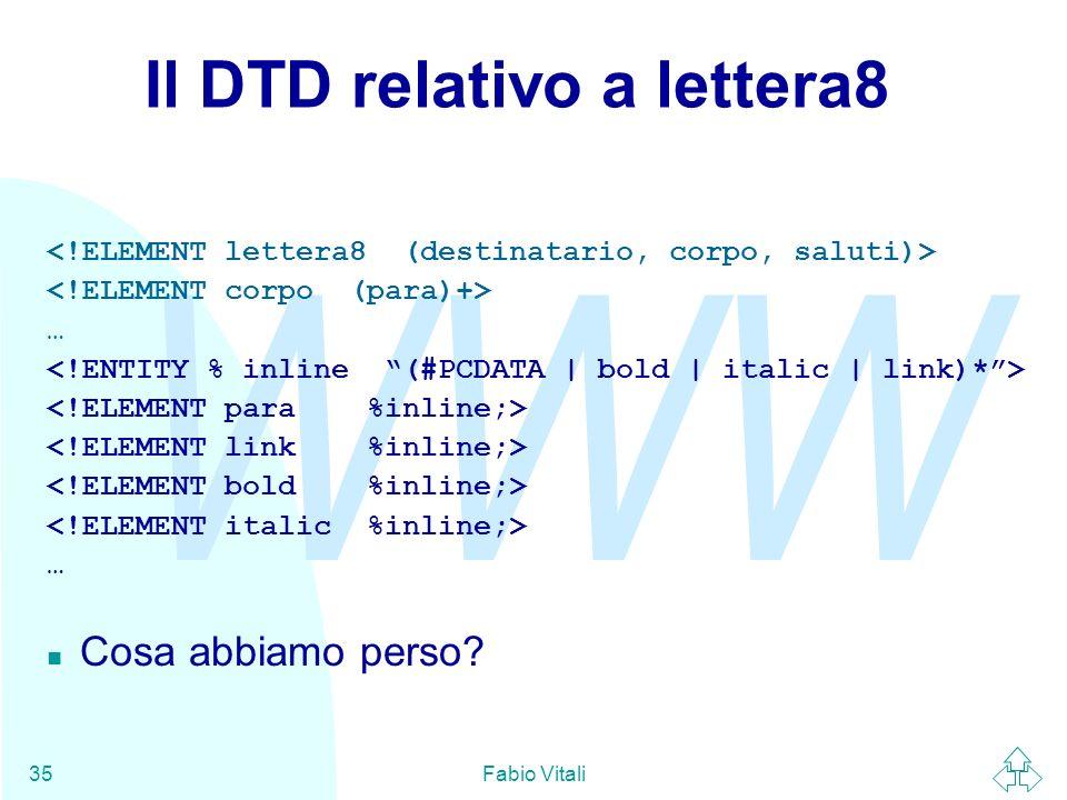Il DTD relativo a lettera8