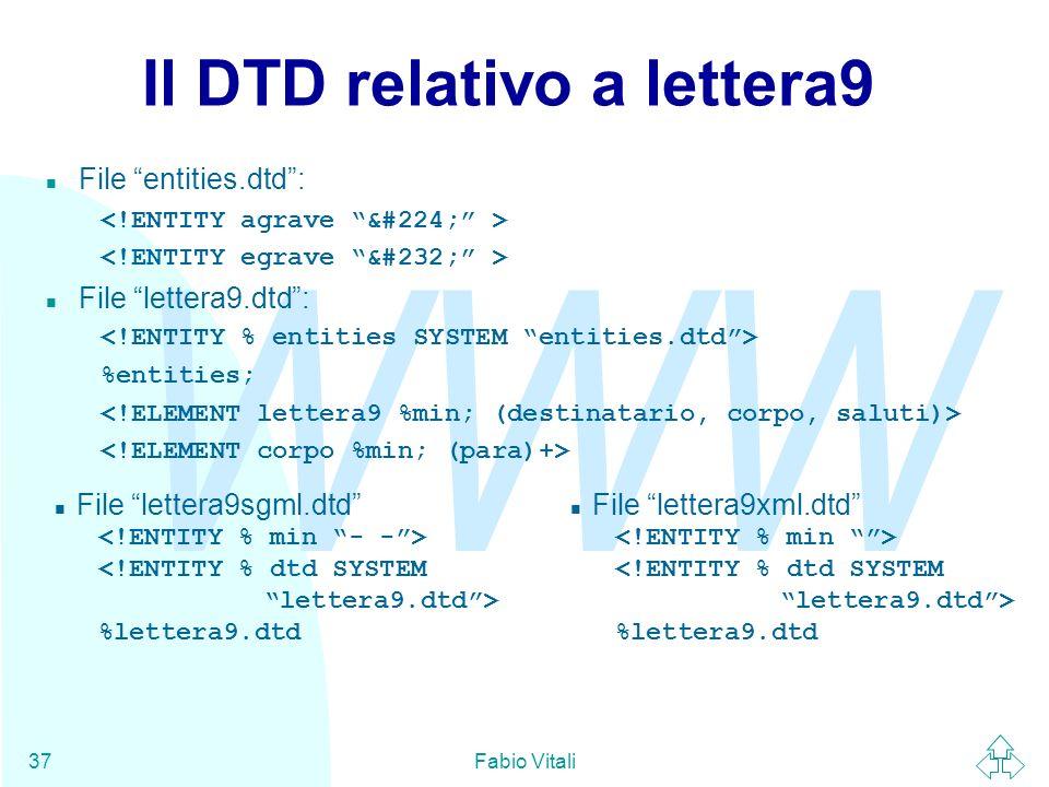 Il DTD relativo a lettera9