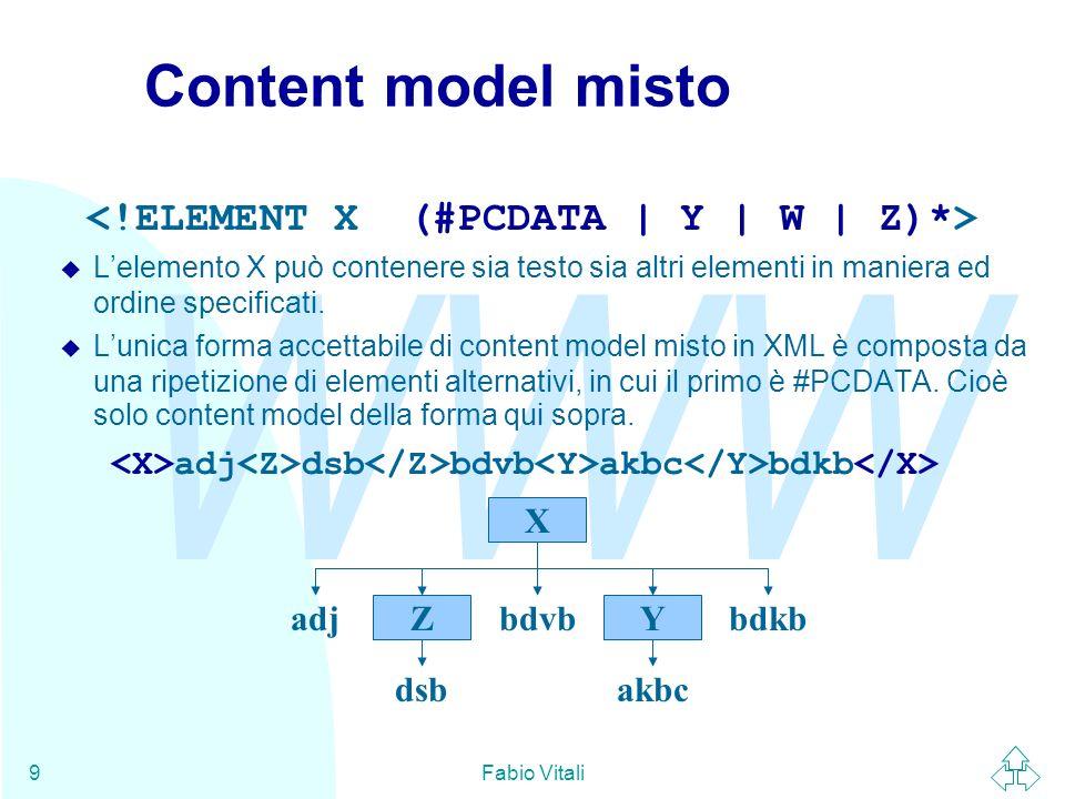 <!ELEMENT X (#PCDATA | Y | W | Z)*>
