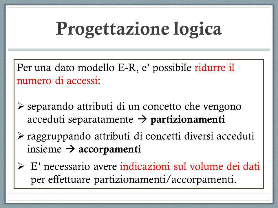 Progettazione logica Per una dato modello E-R, e' possibile ridurre il numero di accessi:
