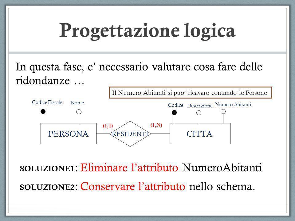 Progettazione logica In questa fase, e' necessario valutare cosa fare delle ridondanze … Il Numero Abitanti si puo' ricavare contando le Persone.