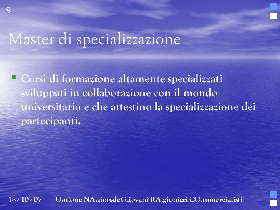 Master di specializzazione
