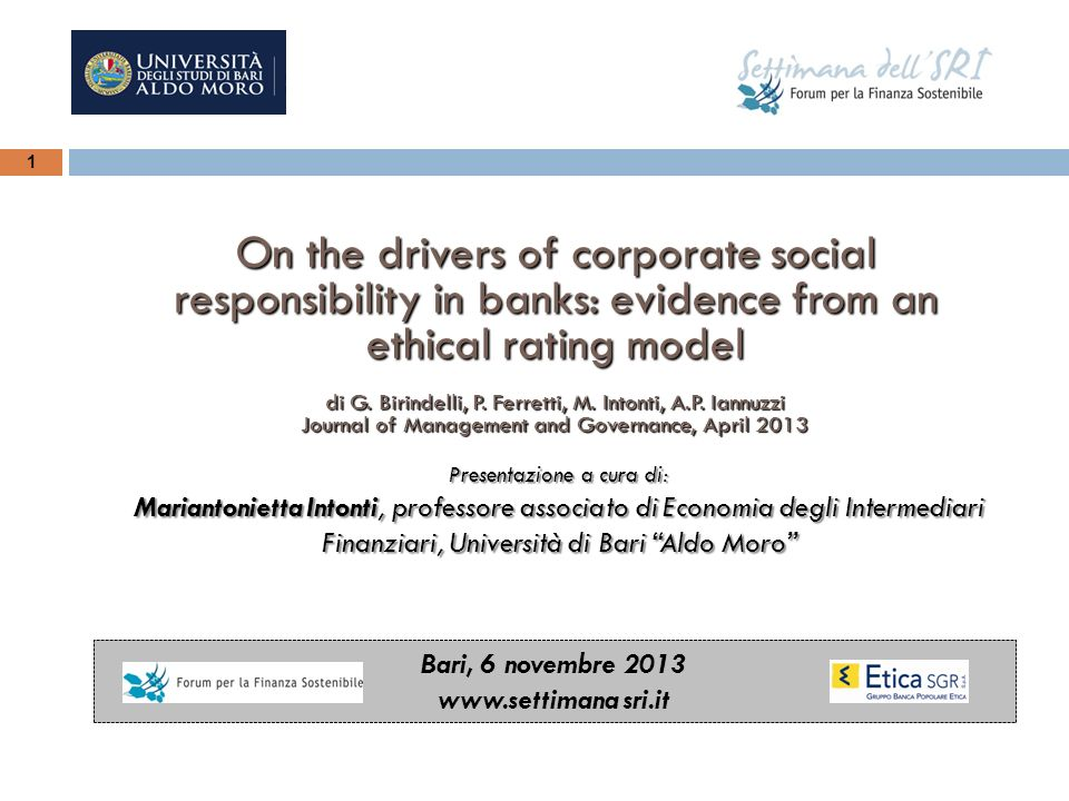 On the drivers of corporate social responsibility in banks: evidence from an ethical rating model
