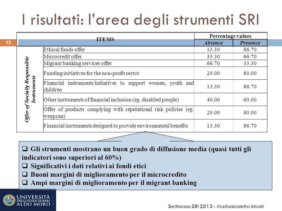 I risultati: l'area degli strumenti SRI