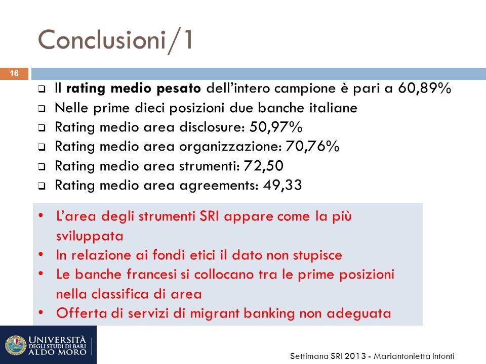 Conclusioni/1 Il rating medio pesato dell'intero campione è pari a 60,89% Nelle prime dieci posizioni due banche italiane.