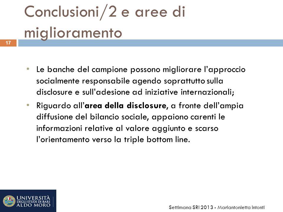 Conclusioni/2 e aree di miglioramento