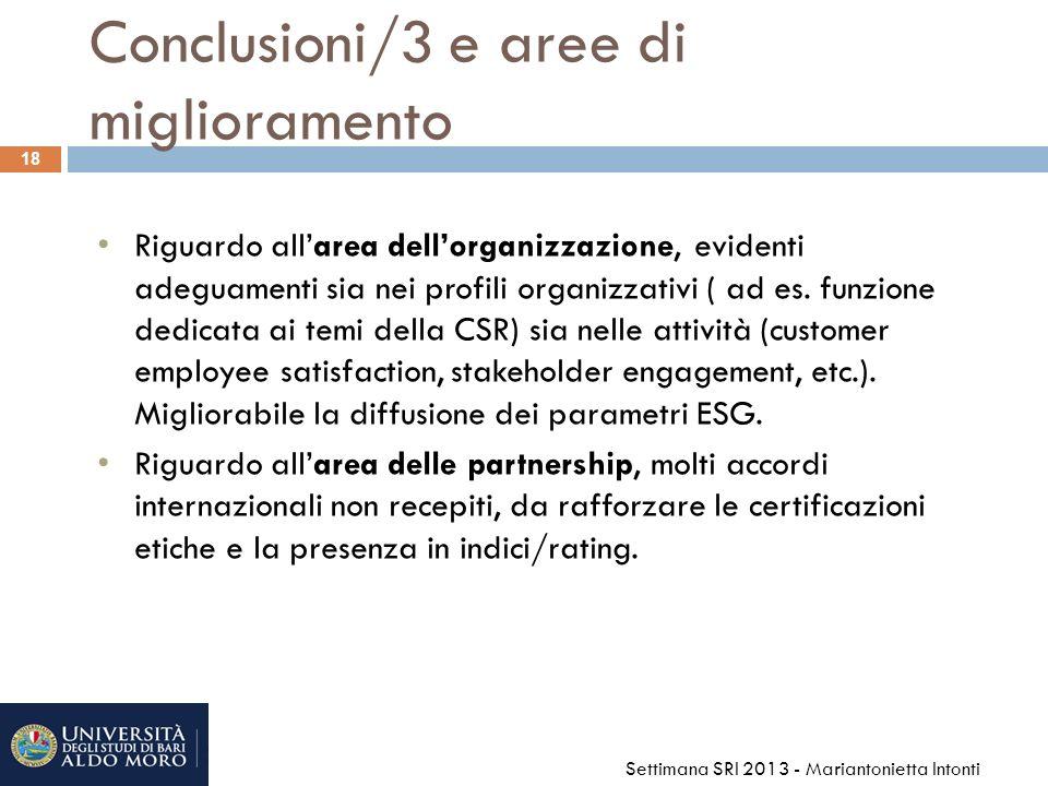 Conclusioni/3 e aree di miglioramento