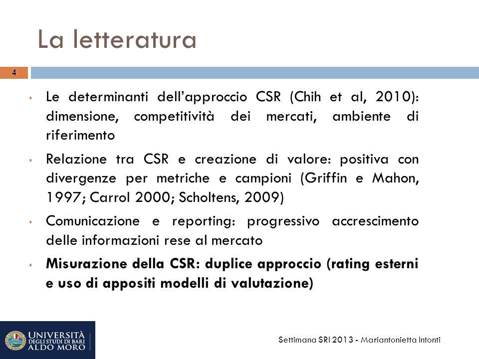 La letteratura 4. 4. Le determinanti dell'approccio CSR (Chih et al, 2010): dimensione, competitività dei mercati, ambiente di riferimento.
