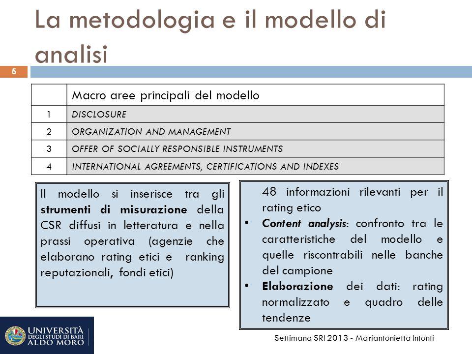 La metodologia e il modello di analisi