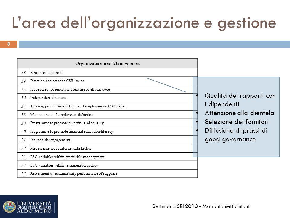 L'area dell'organizzazione e gestione