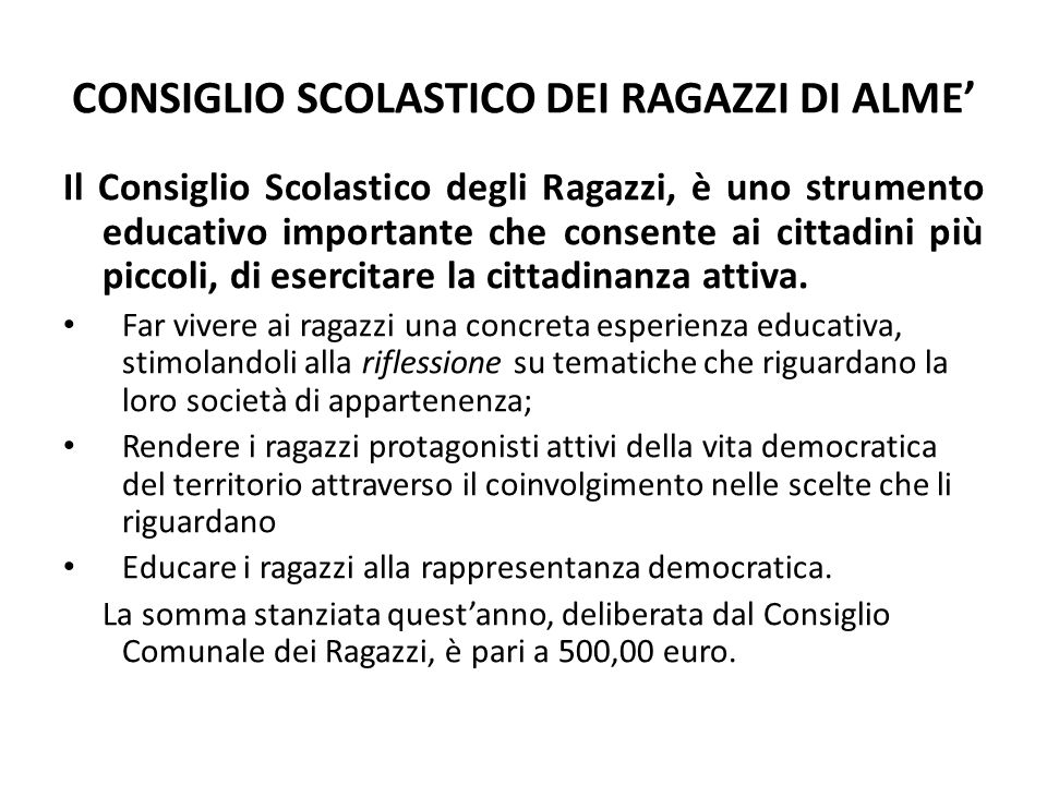 CONSIGLIO SCOLASTICO DEI RAGAZZI DI ALME'