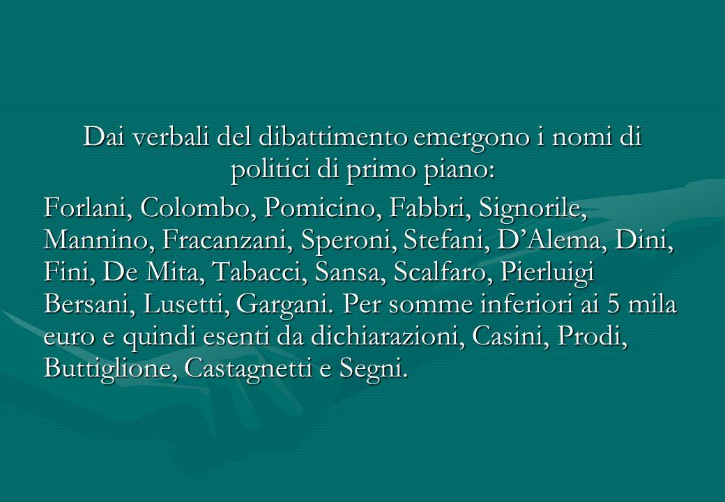 Dai verbali del dibattimento emergono i nomi di politici di primo piano: