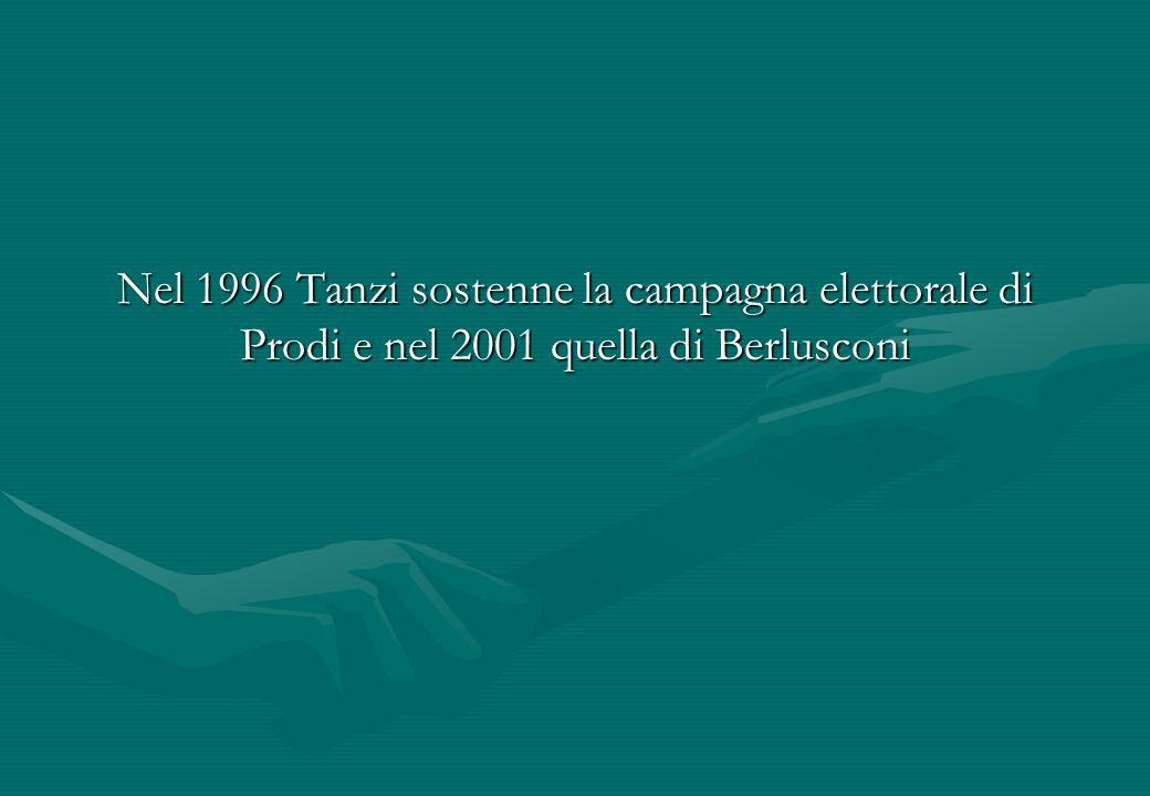 Nel 1996 Tanzi sostenne la campagna elettorale di Prodi e nel 2001 quella di Berlusconi