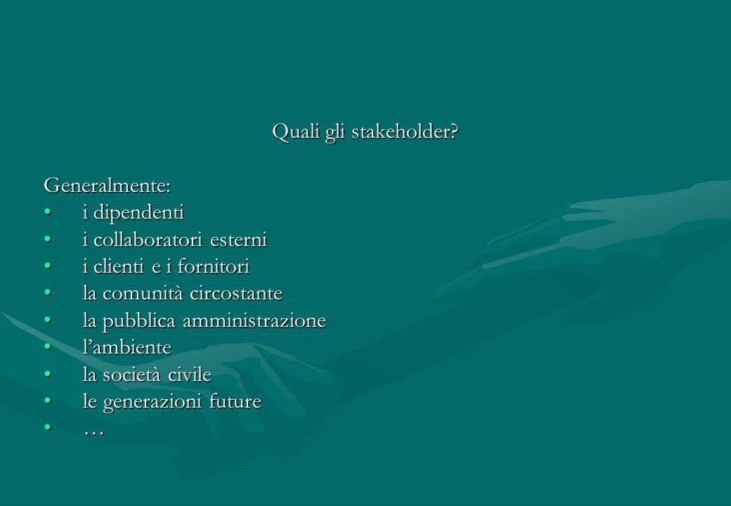 Quali gli stakeholder Generalmente: i dipendenti. i collaboratori esterni. i clienti e i fornitori.