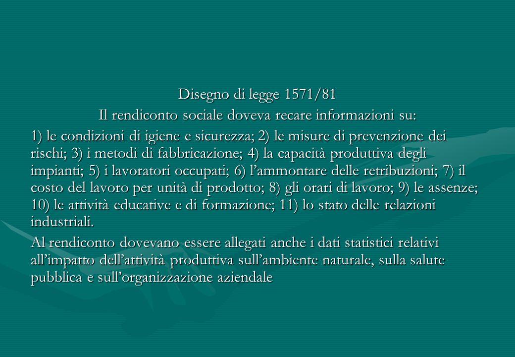 Il rendiconto sociale doveva recare informazioni su: