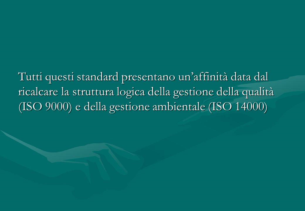 Tutti questi standard presentano un'affinità data dal ricalcare la struttura logica della gestione della qualità (ISO 9000) e della gestione ambientale (ISO 14000)