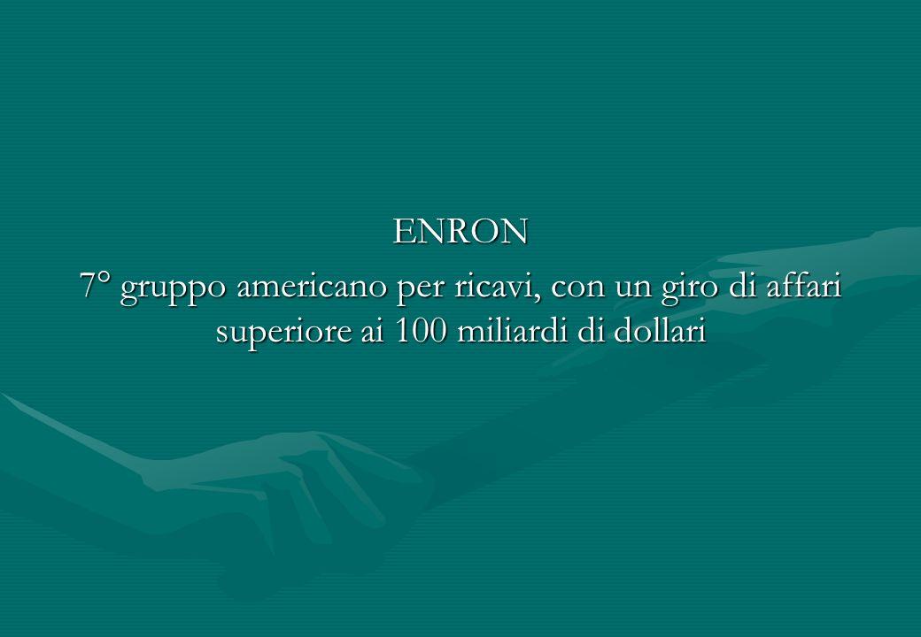 ENRON 7° gruppo americano per ricavi, con un giro di affari superiore ai 100 miliardi di dollari
