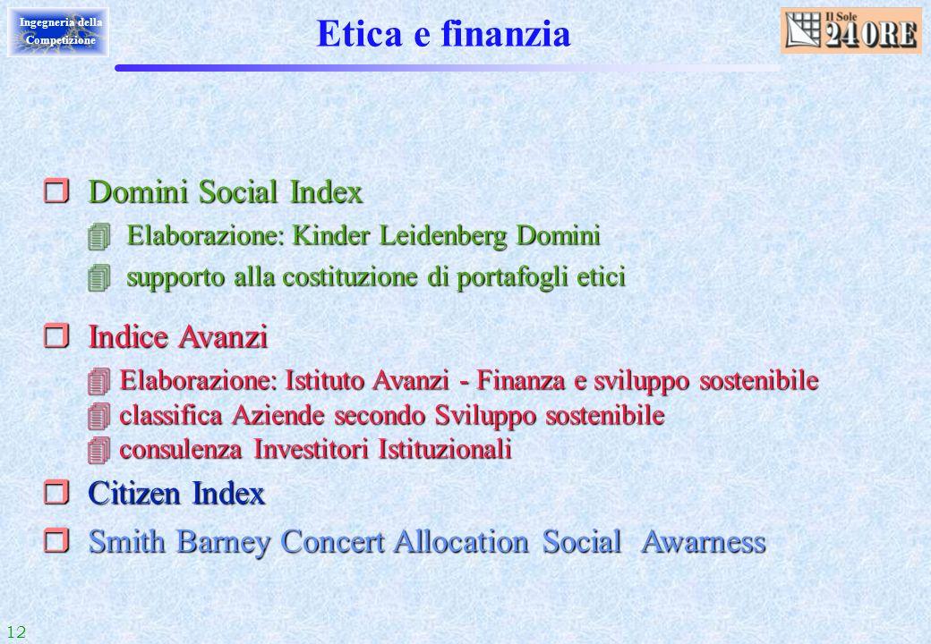 Etica e finanzia Domini Social Index Indice Avanzi Citizen Index