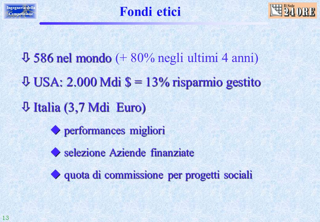Fondi etici 586 nel mondo (+ 80% negli ultimi 4 anni)