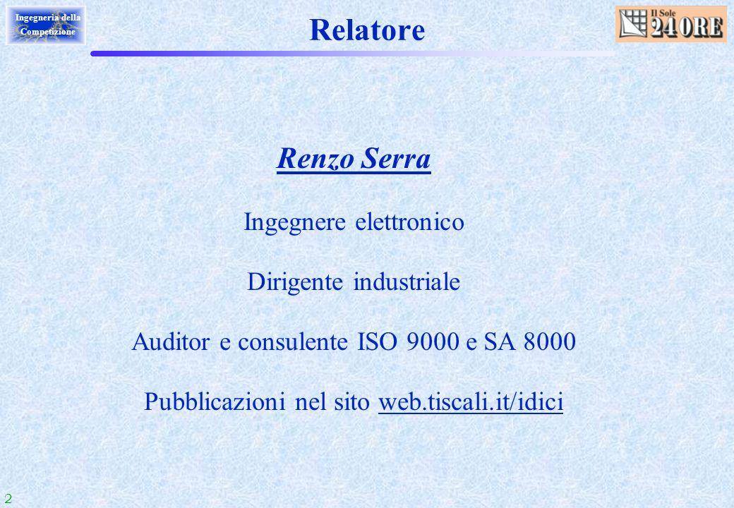 Relatore Renzo Serra Ingegnere elettronico Dirigente industriale
