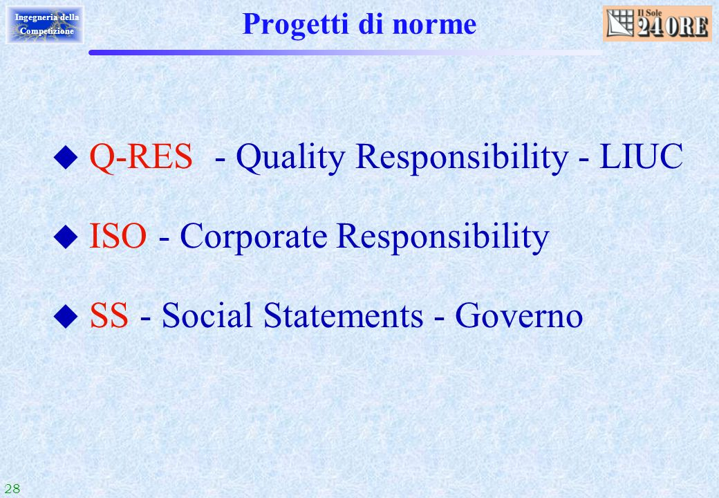 Q-RES - Quality Responsibility - LIUC ISO - Corporate Responsibility
