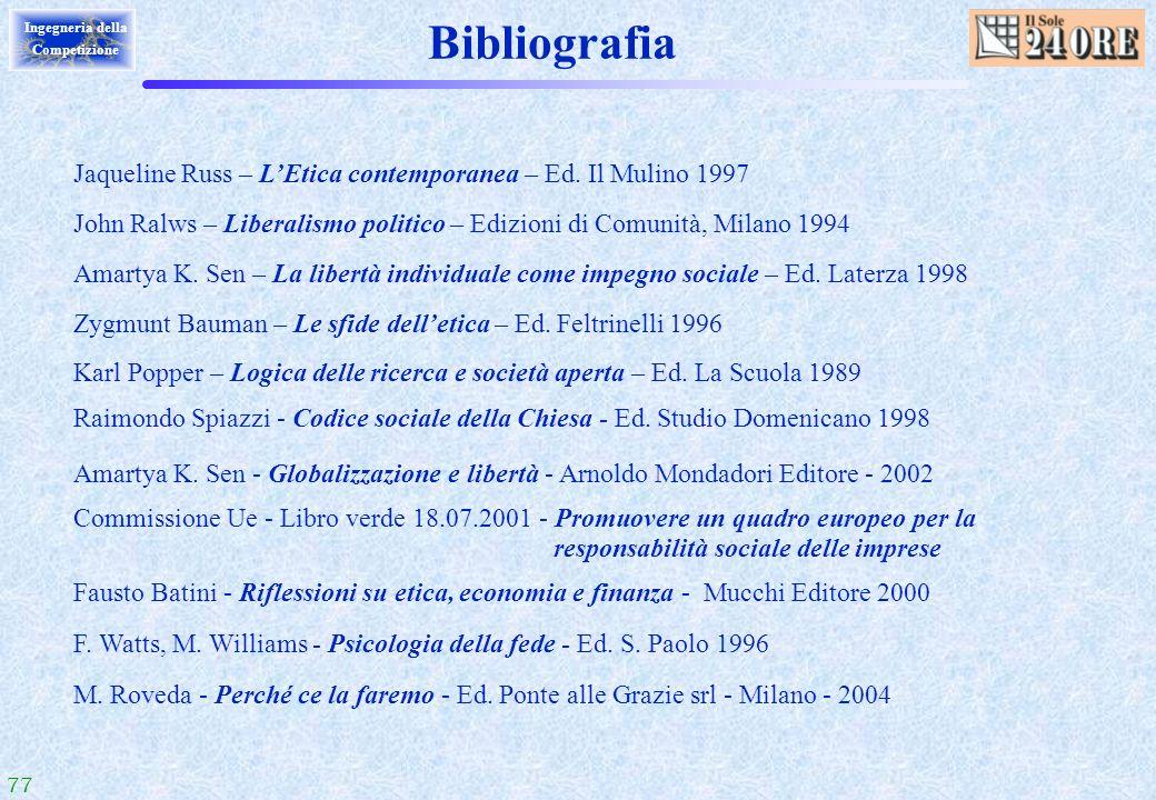 Bibliografia Jaqueline Russ – L'Etica contemporanea – Ed. Il Mulino 1997. John Ralws – Liberalismo politico – Edizioni di Comunità, Milano 1994.