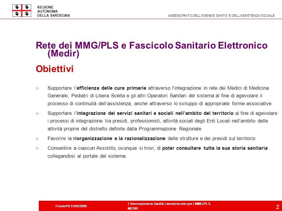 Rete dei MMG/PLS e Fascicolo Sanitario Elettronico (Medir) Obiettivi