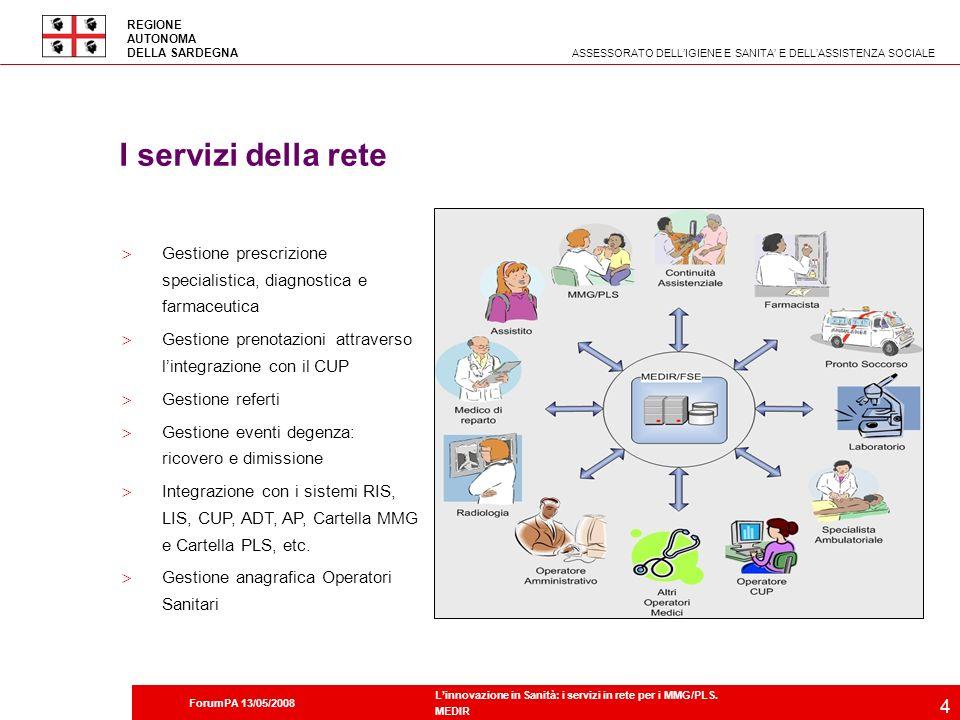 I servizi della rete Gestione prescrizione specialistica, diagnostica e farmaceutica. Gestione prenotazioni attraverso l'integrazione con il CUP.