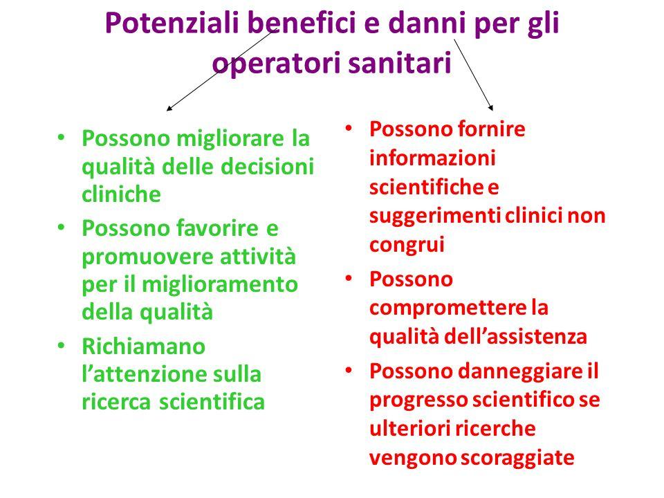 Potenziali benefici e danni per gli operatori sanitari