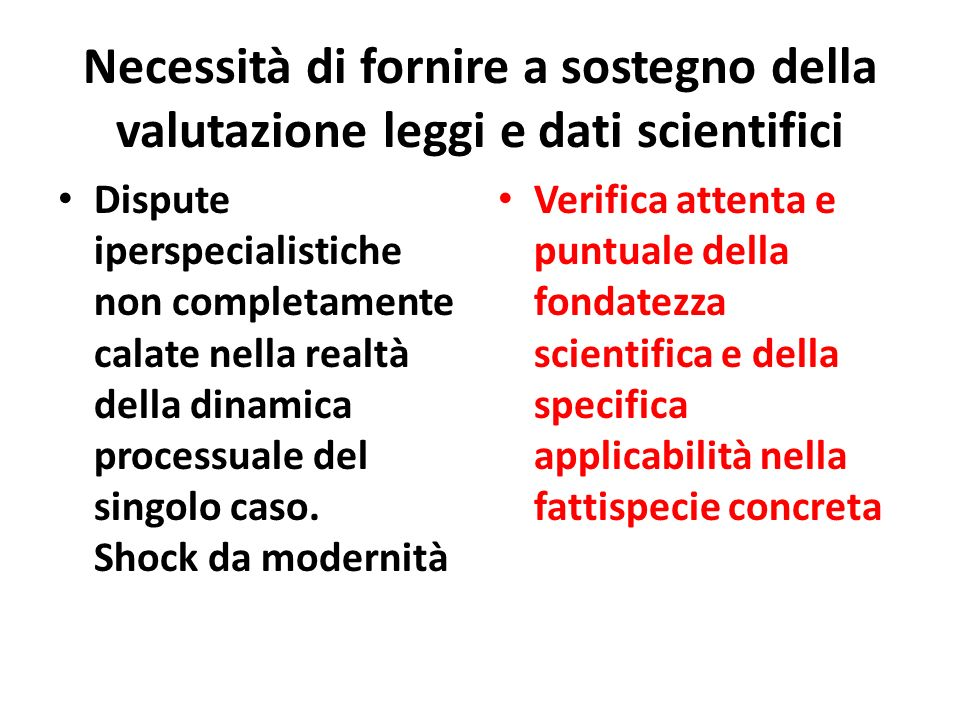 Necessità di fornire a sostegno della valutazione leggi e dati scientifici