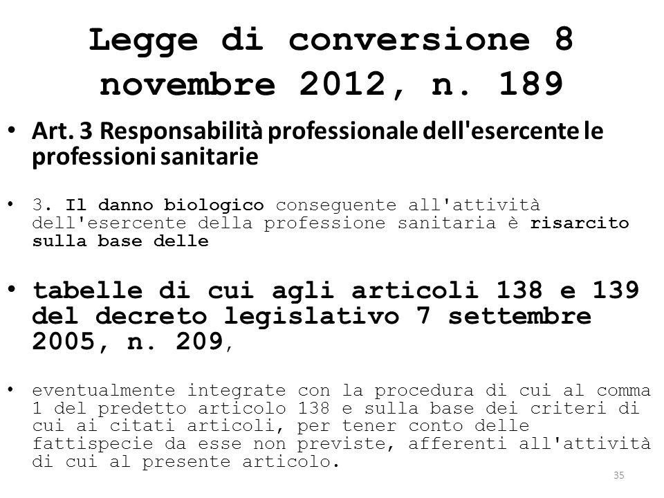 Legge di conversione 8 novembre 2012, n. 189