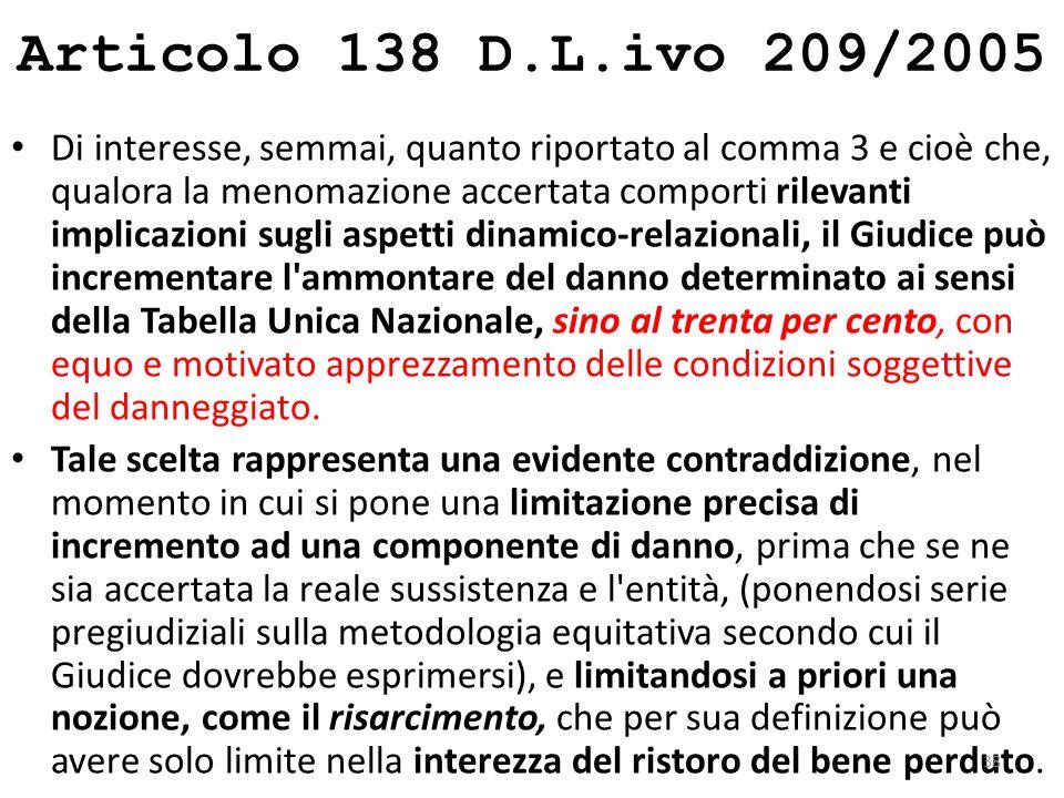 Articolo 138 D.L.ivo 209/2005