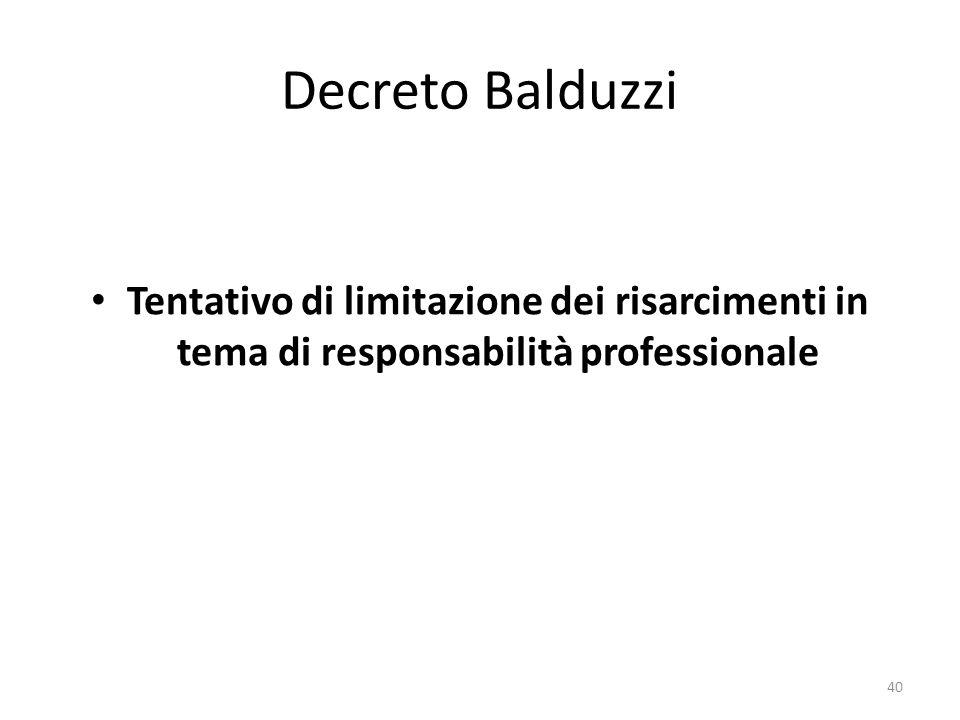 Decreto Balduzzi Tentativo di limitazione dei risarcimenti in tema di responsabilità professionale