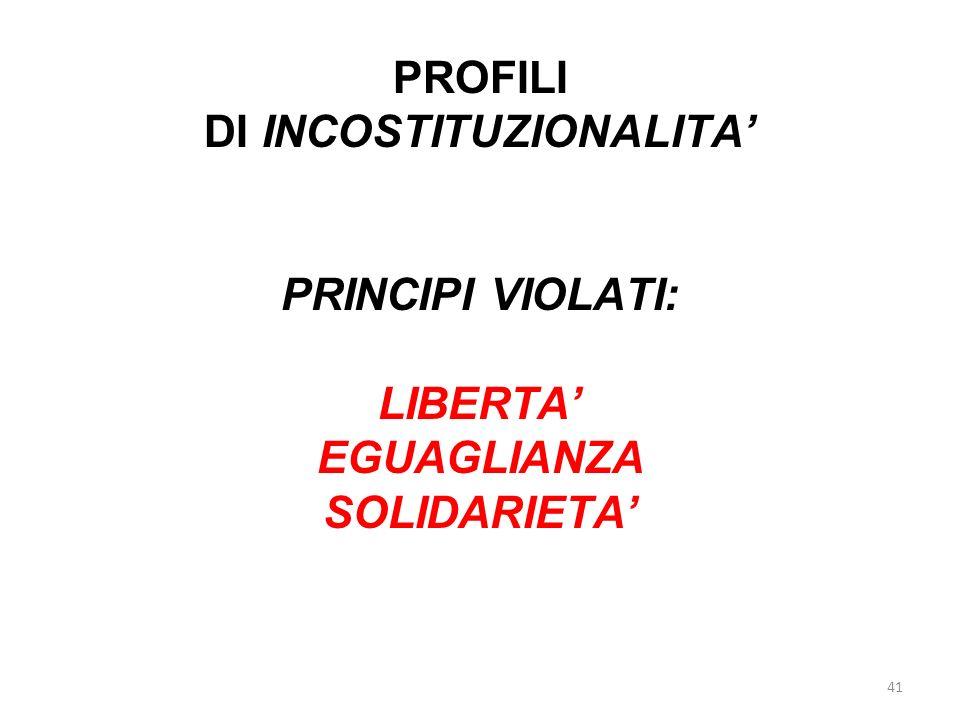 DI INCOSTITUZIONALITA'