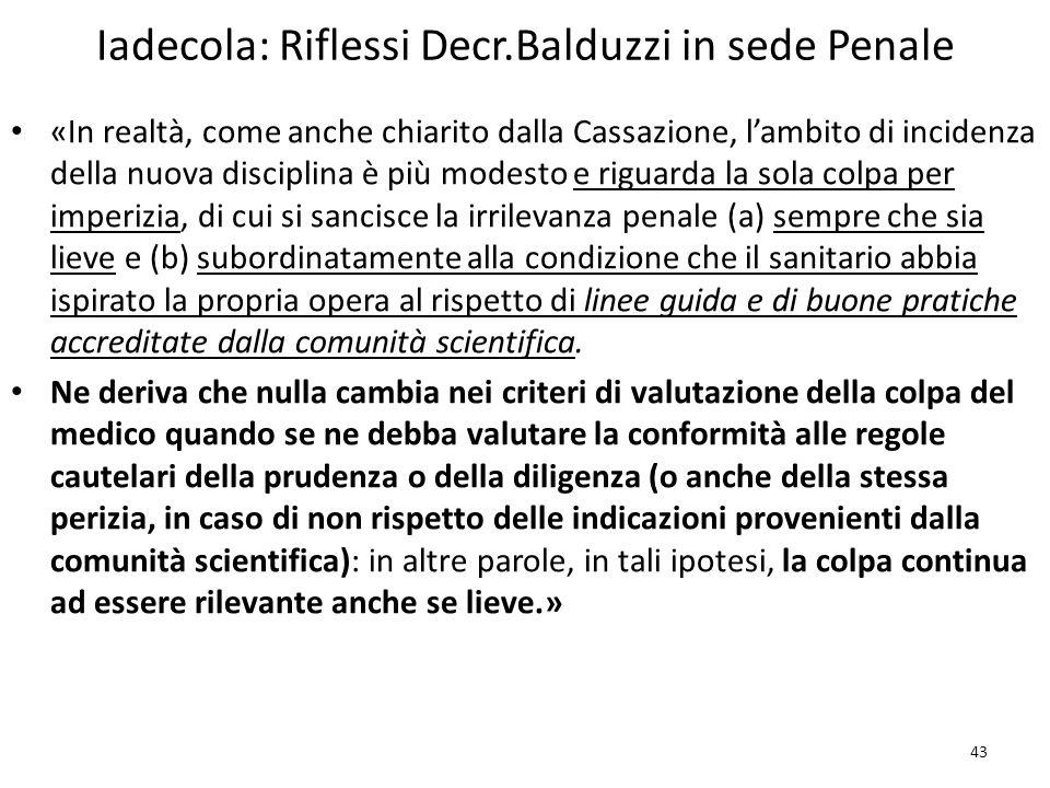 Iadecola: Riflessi Decr.Balduzzi in sede Penale