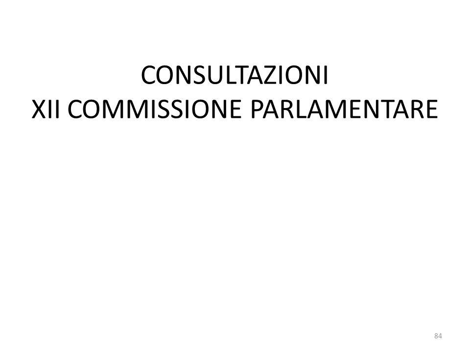 CONSULTAZIONI XII COMMISSIONE PARLAMENTARE