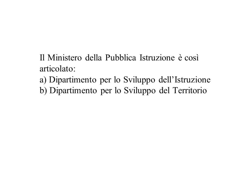 Il Ministero della Pubblica Istruzione è così articolato: a) Dipartimento per lo Sviluppo dell'Istruzione b) Dipartimento per lo Sviluppo del Territorio