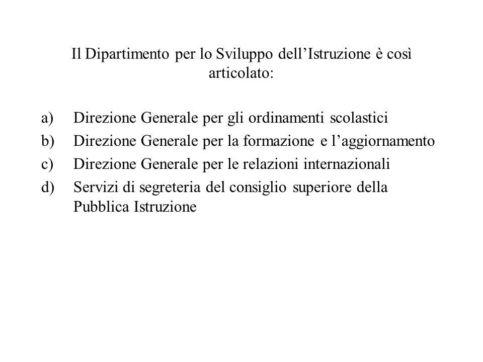 Il Dipartimento per lo Sviluppo dell'Istruzione è così articolato: