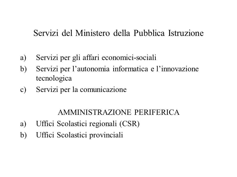 Servizi del Ministero della Pubblica Istruzione