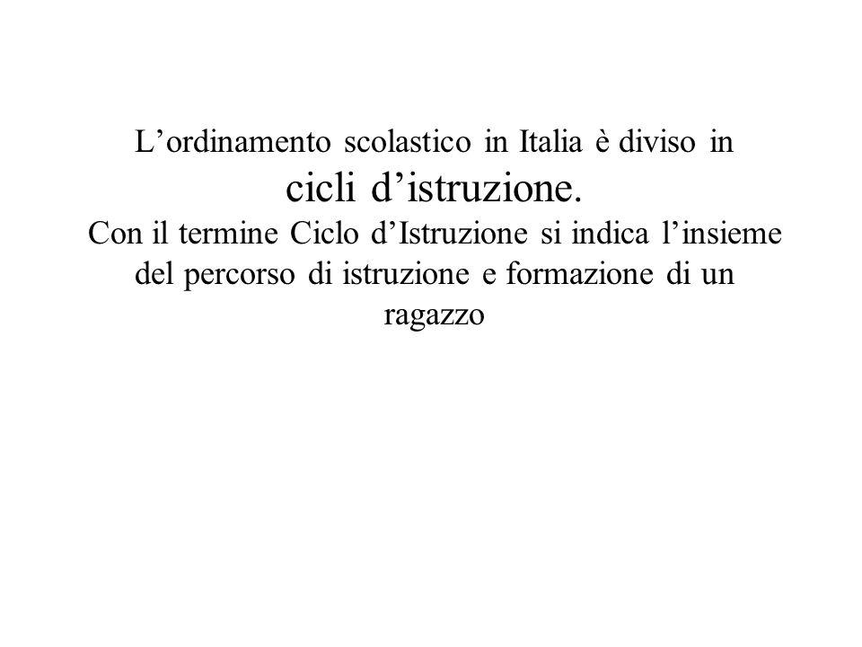L'ordinamento scolastico in Italia è diviso in cicli d'istruzione