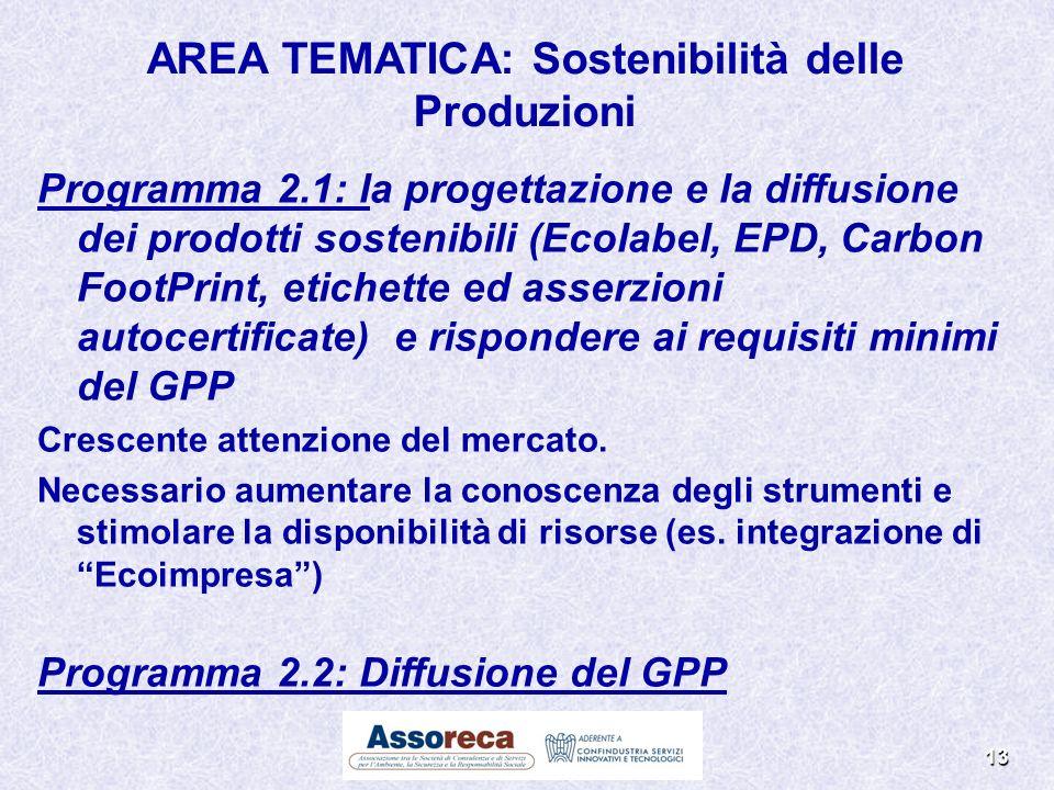 AREA TEMATICA: Sostenibilità delle Produzioni