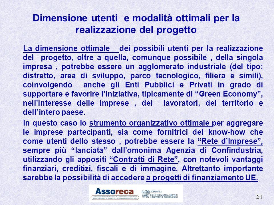 Dimensione utenti e modalità ottimali per la realizzazione del progetto