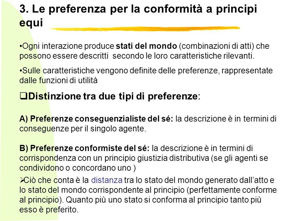3. Le preferenza per la conformità a principi equi