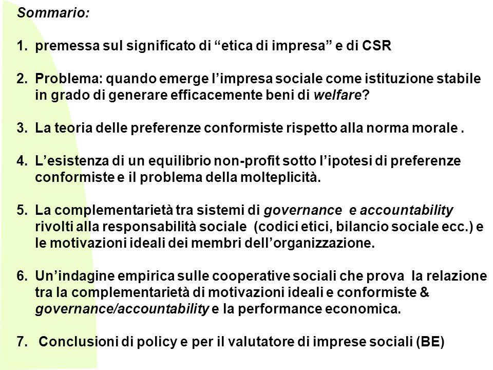Sommario: premessa sul significato di etica di impresa e di CSR.