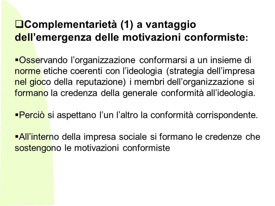 Complementarietà (1) a vantaggio dell'emergenza delle motivazioni conformiste: