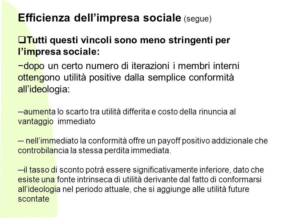 Efficienza dell'impresa sociale (segue)