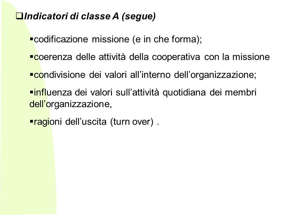 Indicatori di classe A (segue)