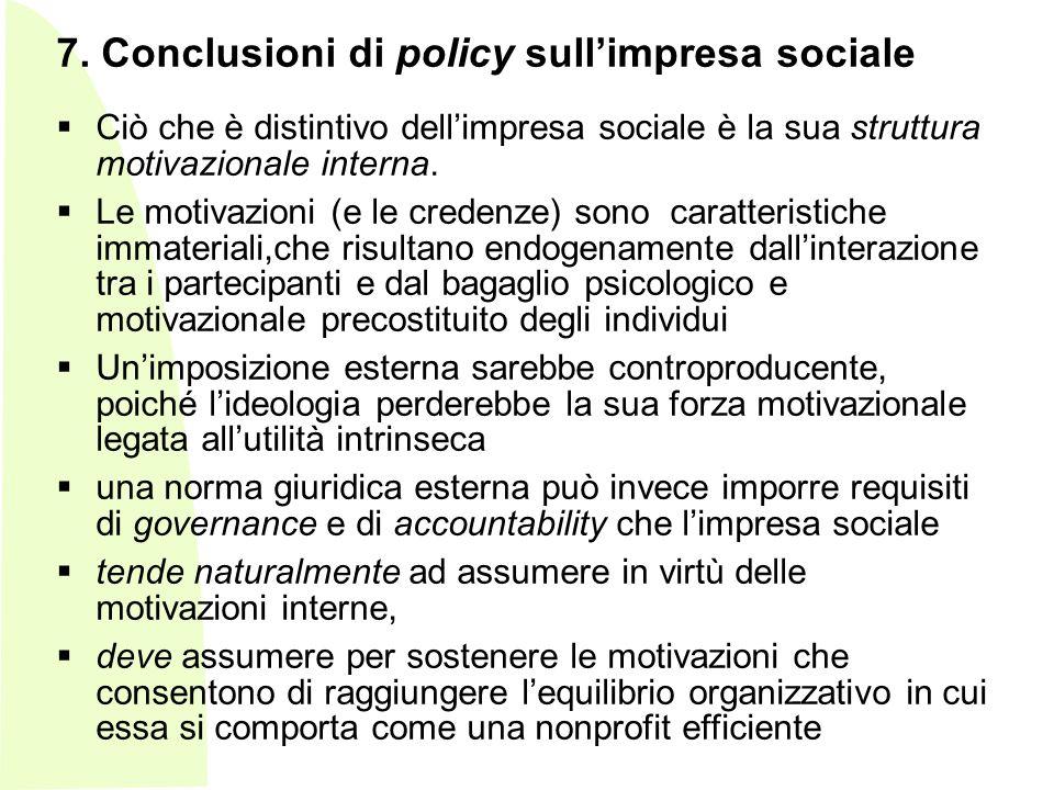 7. Conclusioni di policy sull'impresa sociale