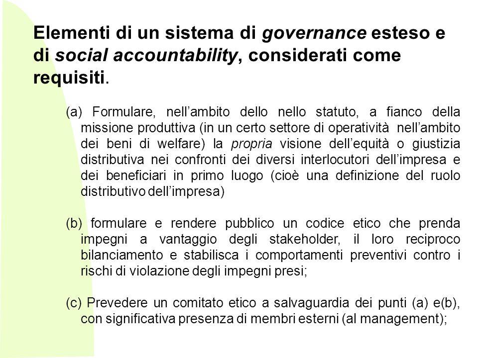 Elementi di un sistema di governance esteso e di social accountability, considerati come requisiti.