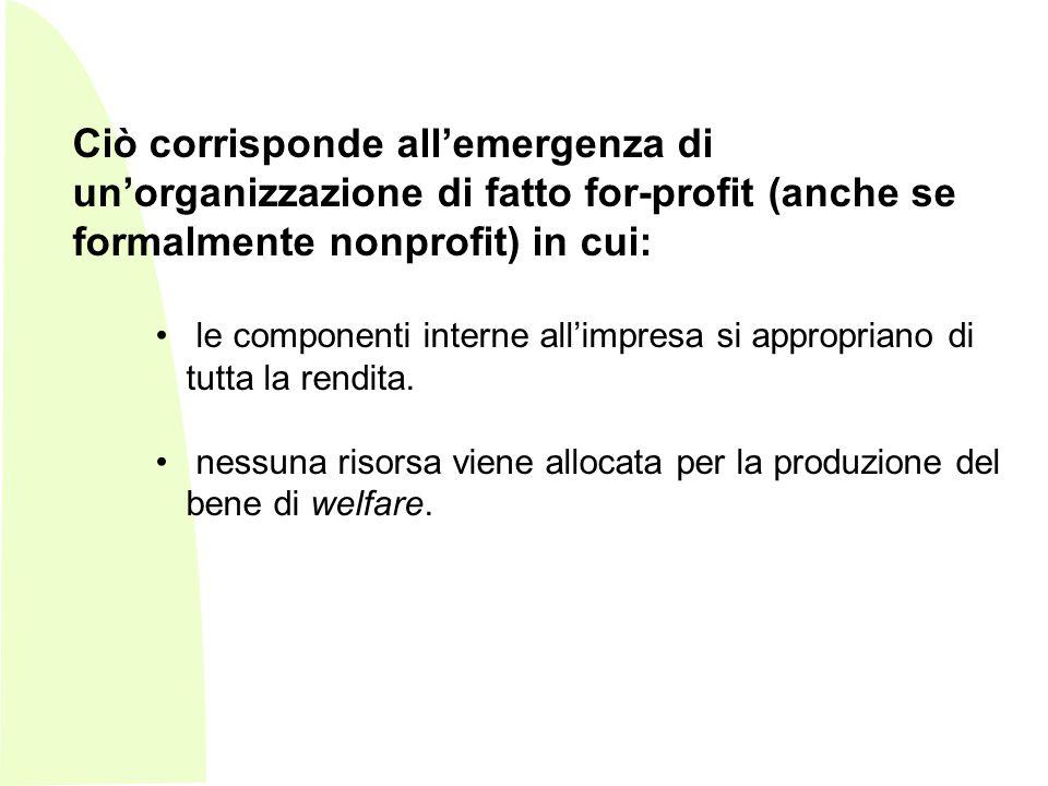 Ciò corrisponde all'emergenza di un'organizzazione di fatto for-profit (anche se formalmente nonprofit) in cui: